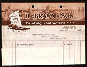 Commercial Invoice from C. H. Braun & Son, Painting Contractors, 1949