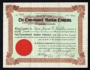 The Consolidated Alaskan Company: Share Certificate, 1909-1923
