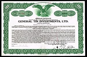 General Tin Investments, Ltd. [A British Corporation]: American Share Certificate, 1961: GENERAL ...