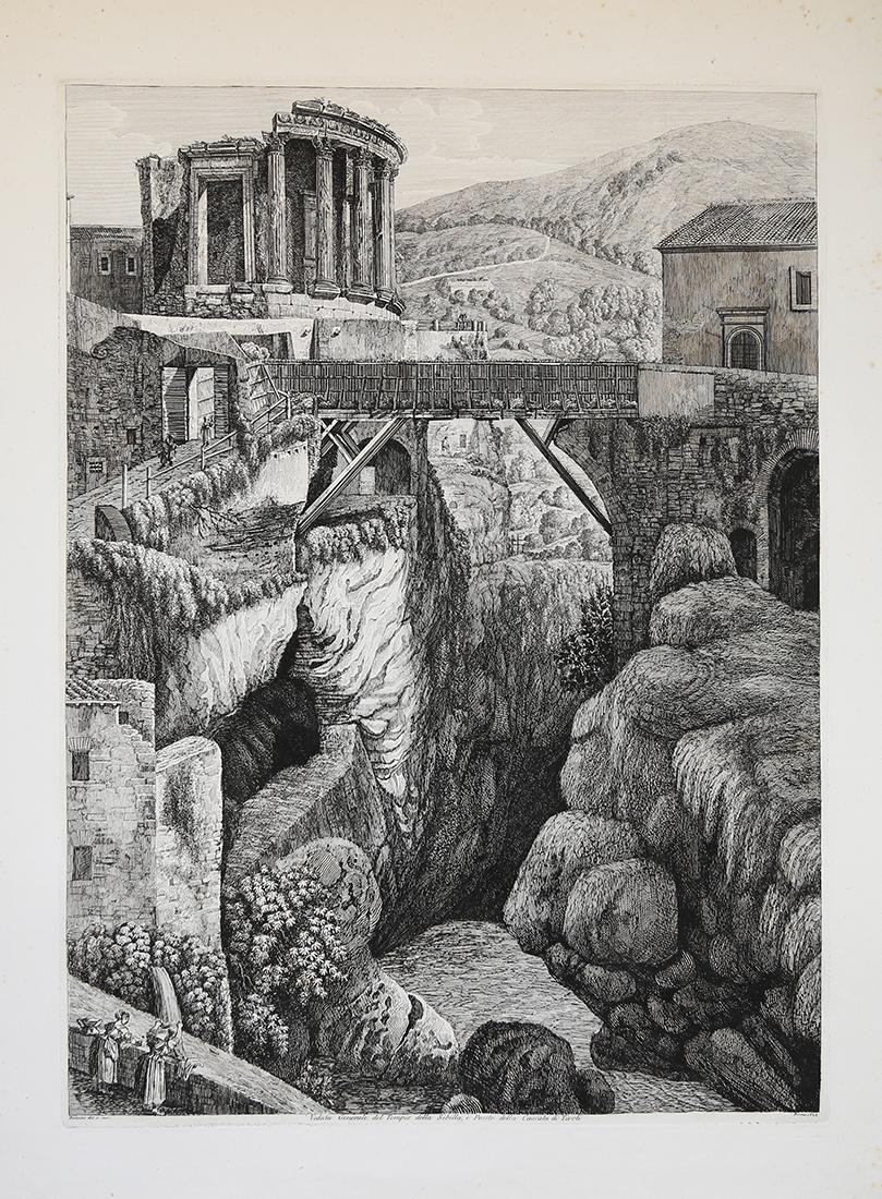 Veduta generale del Tempio della Sibilla,e ponte della Cascata di Tivoli Luigi ROSSINI