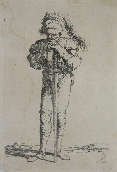 Soldato in piedi appoggiato a spada Salvator ROSA