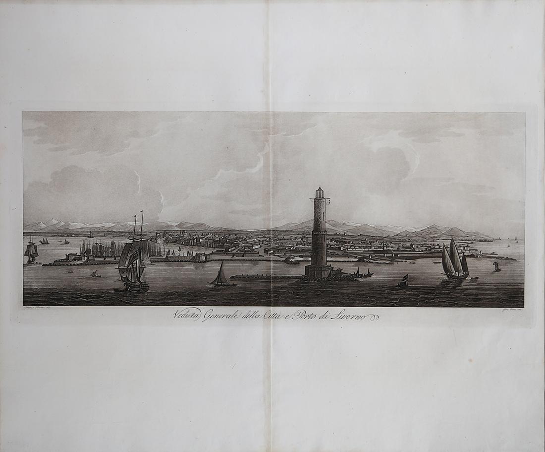 Veduta Generale della Città e Porto di Livorno Giuseppe PERA