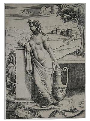 """Fanciulla accanto a un vaso: Agostino de MUSI detto """"Agostino VENEZIANO"""""""