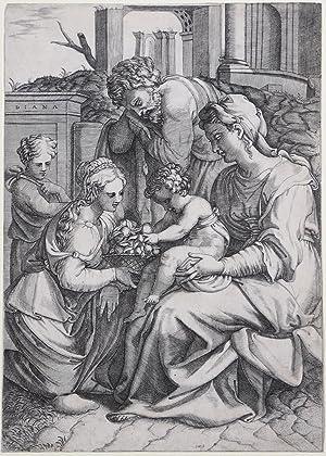 La Sacra Famiglia riceve un cesto di frutta da una giovane donna: Diana SCULTORI