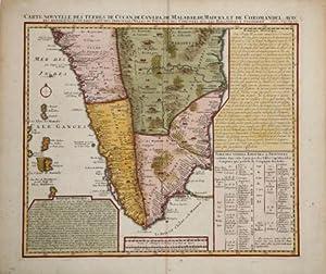 Carte Nouvelle des Terres de Cucan de Canara de Malabar de Madura et de Coromandel.: Henri Abraham ...