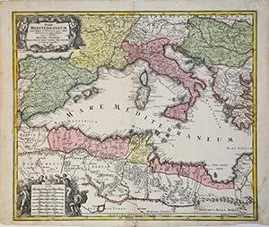 """Mare Mediterraneum, iuxta Regna et Provinciasquas alluit: Matthaus SEUTTER """"il"""