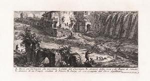 A. Mura con barbacani che investono le falde del Quirinale. B. Avanzi della Casa e de' Bagni di...