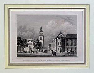 Katholische Kirche und Staendehaus in Carlsruhe. Stahlstiche.: Pozzi, Jacob - Joh. Poppel