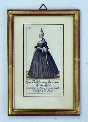 Ein Adels-Frau im Kirchen- u. Trauer-Kleid. Aus: Zürcherische Kleider-Trachten : oder ...