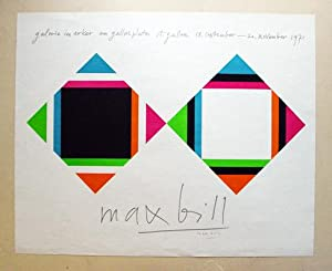 Plakat - Max Bill, Galerie im Erker am Gallusplatz, St. Gallen, 18 September - 20. November 1971....