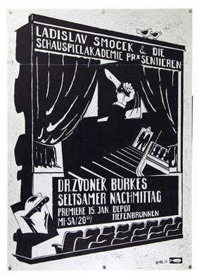 Plakat - Dr. Zvonek Burkes seltsamer Nachmittag - Depot Tiefenbrunnen. Siebdruck.: Smocek, Ladislav