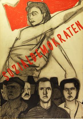 Plakat - Sozialdemokraten. Lithographie.: Falk, Hans