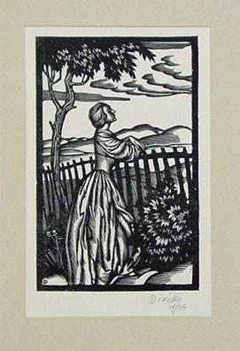 Frau am Gartenzaun. Holzschnitt.: Divéky, Josef