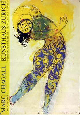 Plakat - Marc Chagall Kunsthaus Zürich. Siebdruck.: Chagall, Marc