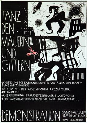 Plakat - Tanz den Mauern und Gittern - Demonstration, Samstag 1. Juli 1995. Offset.