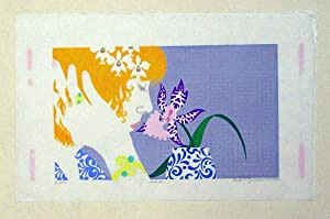 Orchidee. Farbiger Linolschnitt a. Japanpapier.: Günther, Dieter C.