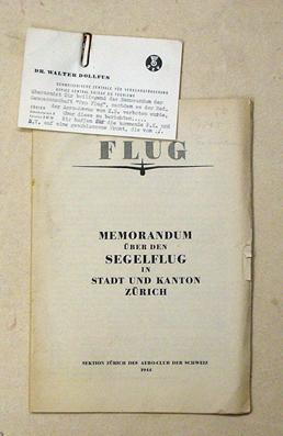 Pro Flug - Memorandum über den Segelflug in Stadt und Kanton Zürich.