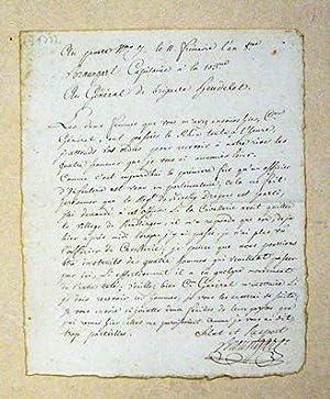 Au poste [.] le 11 Frimaire l?an 8.me / Braungart Capitaine a la 103me / Au Gén&...