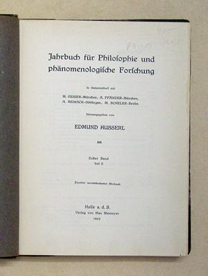 Jahrbuch für Philosophie und phänomenologische Forschung. In Gemeinschaft mit [.] M. ...