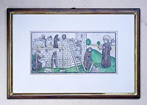 Holzschnitt aus «Heiligen-Leben», altkoloriert. Sankt Othmar.: Voragine, Jacobus de