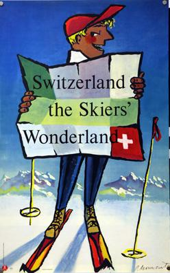 Plakat - Switzerland the Skiers? Wonderland. Siebdruck.