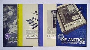 Die Anzeige. (4 Hefte der Jahre 1930 und 1931). Zeitschrift für das Anzeigenwesen.