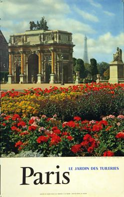 Plakat - France - Paris-le jardin du Tuileries. Offset.