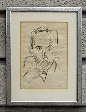 Raucher - Portrait Walter Mehring. Orig.-Lithographie.: Pechstein, Max
