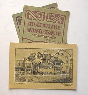 Malerische Winkel in Zürich. Originallithographien. (2 Teile).: Boscovits, F