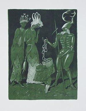 Brautwerbung. Käfer-Ritter, von einem Zwerg begleitet, wirbt mit einer Kette um das Akelei- ...