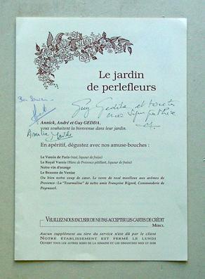 Restaurant Le Jardin de Perlefleurs - Annick, André et Guy Gedda.: Speisekarte