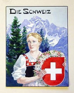 Die Schweiz - Frau Helvetia im Alter von 30 Jahren. Orig.- Aquarell.