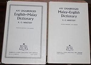 An unabridged Malay-English Dictionary; An unabridged English-Malay: Winstedt, R.O.: