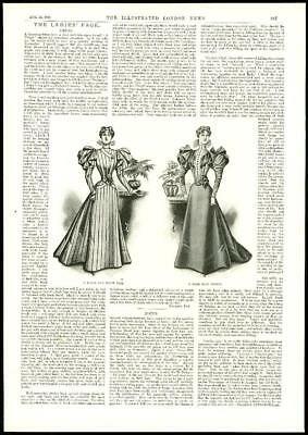 1896 Antique Print - LADIES FASHION Dress