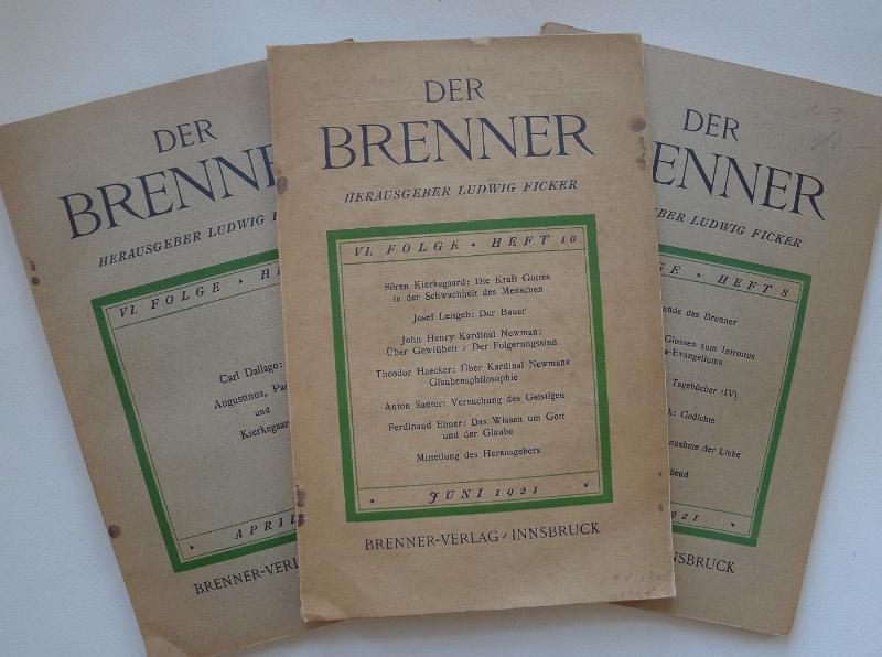 Der Brenner. 3 Hefte aus der VI.: FICKER, Ludwig von