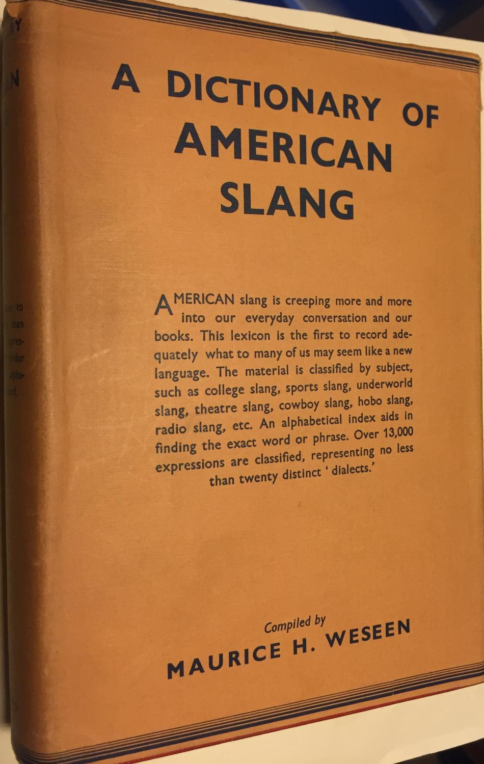 a dictionary of american slang by weseen maurice h. Black Bedroom Furniture Sets. Home Design Ideas