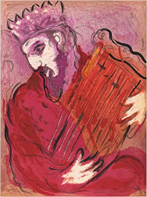 David with the harp Original color lithograph.: Marc Chagall (1887