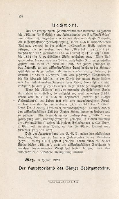 Vierteljahresschrift für Geschichte und Heimatskunde der Grafschaft Glatz. 10t. [komplet]. Bl&...