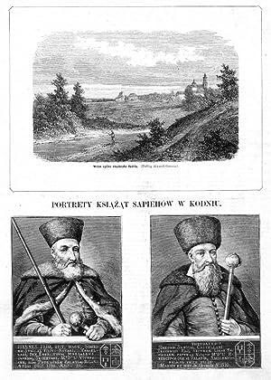 """1] """"Widok ogolny miasteczka Kodnia. (Podlug akwareli: 1) Edward Nicz"""