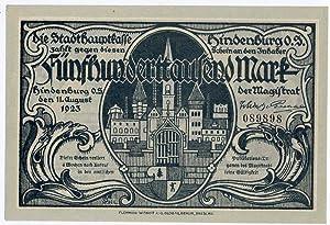 """Awers] """"Die Stadthauptkasse Hindenburg O.S. [.] Fünfhunderttausend: W. H. L."""