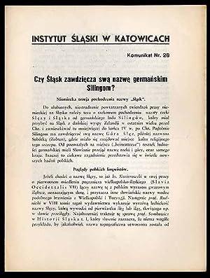 Czy Slask zawdziecza swa nazwe germanskim Silingom?: Kostrzewski Jozef: