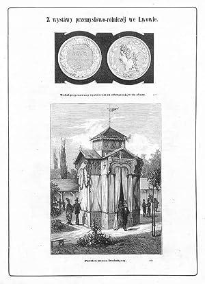 """1] """"Medal przyznawany wystawom za odznaczajace sie: Rycina 1) Jozef"""