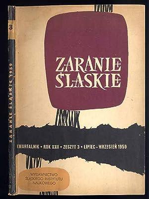 Zaranie Slaskie. Kwartalnik. R.22 (1959). Z.3 (VII-IX