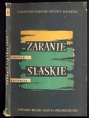 Zaranie Slaskie. Kwartalnik. R.26 (1963). Z.3 (VII-IX