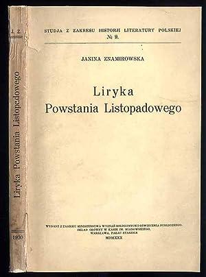 Liryka powstania listopadowego.: Znamirowska Janina: