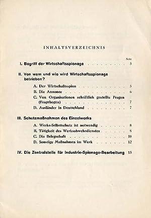 Merkblatt über Abwehr von Wirtschaftsspionage. Betriebsspionage, Industriespionage, ...