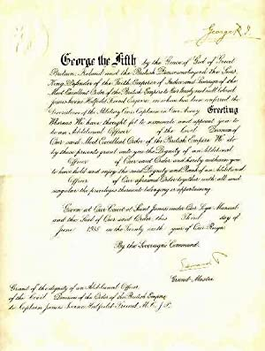 Document (DS) Signed with Clear Ink Autograph Signatures by Both George V and The Future Edward ...
