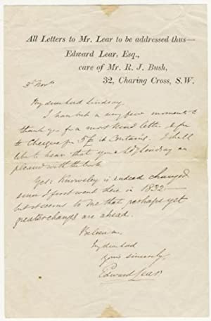 Interesting Autograph Signed Letter (ALS) in Which Lear Refers to Knowsley Hall and Appears to ...