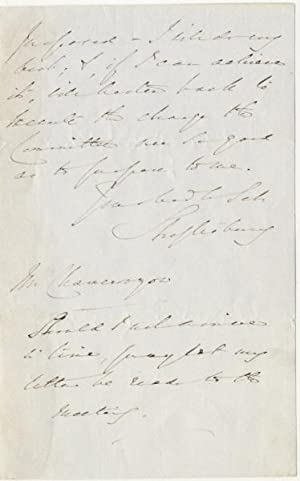 Autograph Signed Letter (ALS) Written in Connection with Harriet Beecher Stowe's Visit to England ...