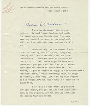 A Very Touching Signed Typed Letter (TLS) in Which Sargent Talks of The Tragedy That Struck His ...